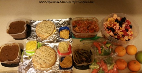 Meal Prep with sandwiches, hummus veggies and spaghetti squash