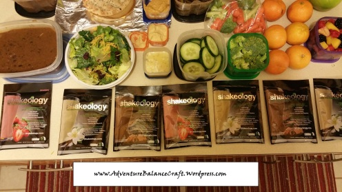 Meal Preparation Salad Shakeology and veggies