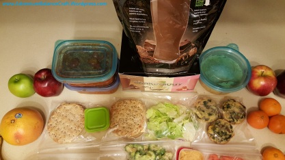 21 day fix style meal prep with sandwich thins, tofurkey, egg cups